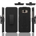 ElloGear New Samsung Galaxy S8 Shell Holster COMBO Extra Slim Rubber Textured Carrying Case with Kickstand & Swivel Belt Clip (Case Only)